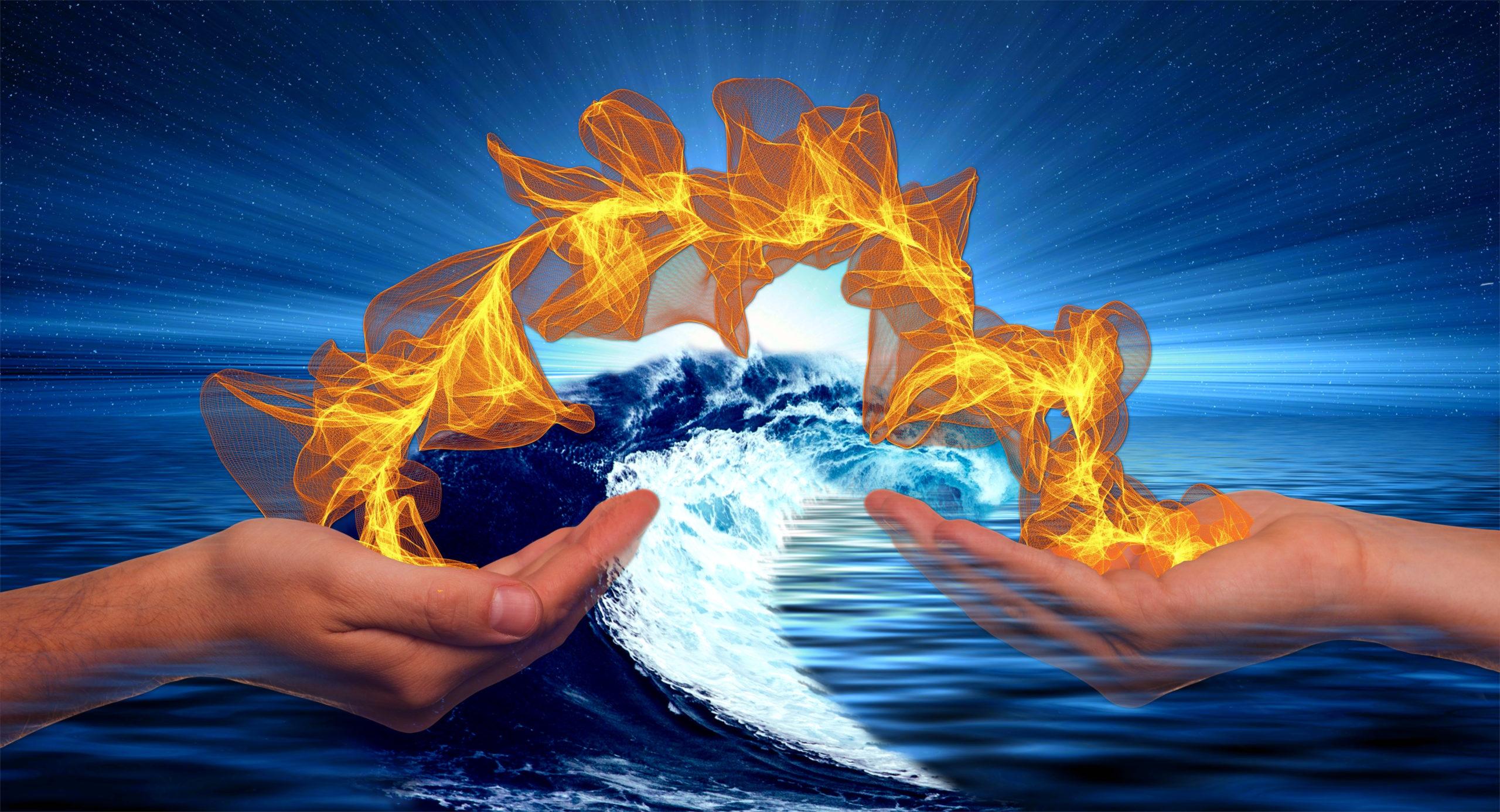 Eine Flamme wandert von einer Hand in die andere vor dem Hintergrund des Meeres mit einer Welle und der aufgehenden Sonne am Horizont als Symbol der Hypnose als Mittel zur Selbstermächtigung