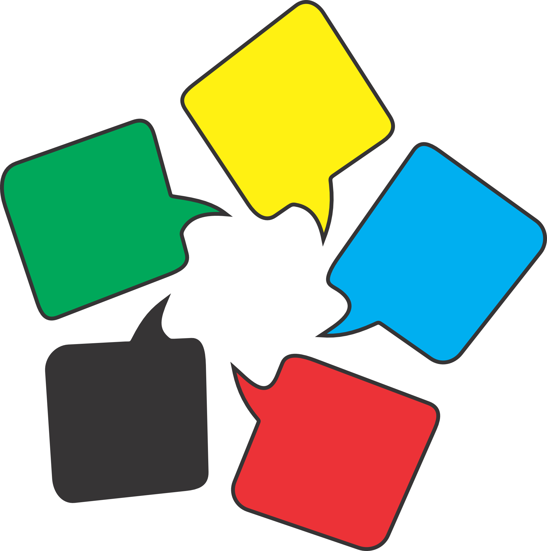 Sprechblasen in Grün, Gelb, Blau, Rot, Schwarz als Symbol für mehrere verfügbare Fremdsprachen