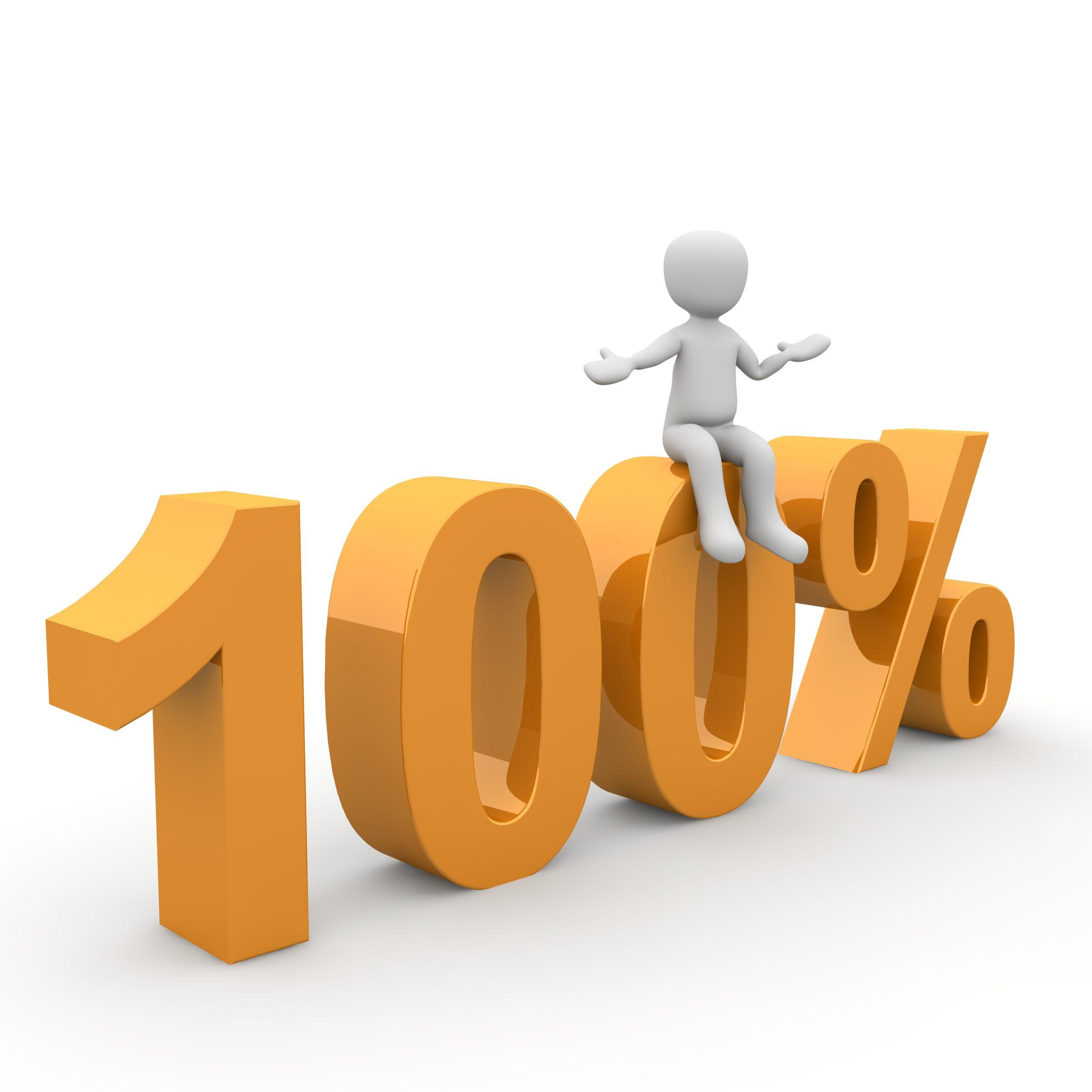 Ein Dummie sitzt auf einer Null eines 100%-Zeichens als Symbol für die Ausführungen dazu, wann Hypnose-Coaching optimale Wirkung erzielt