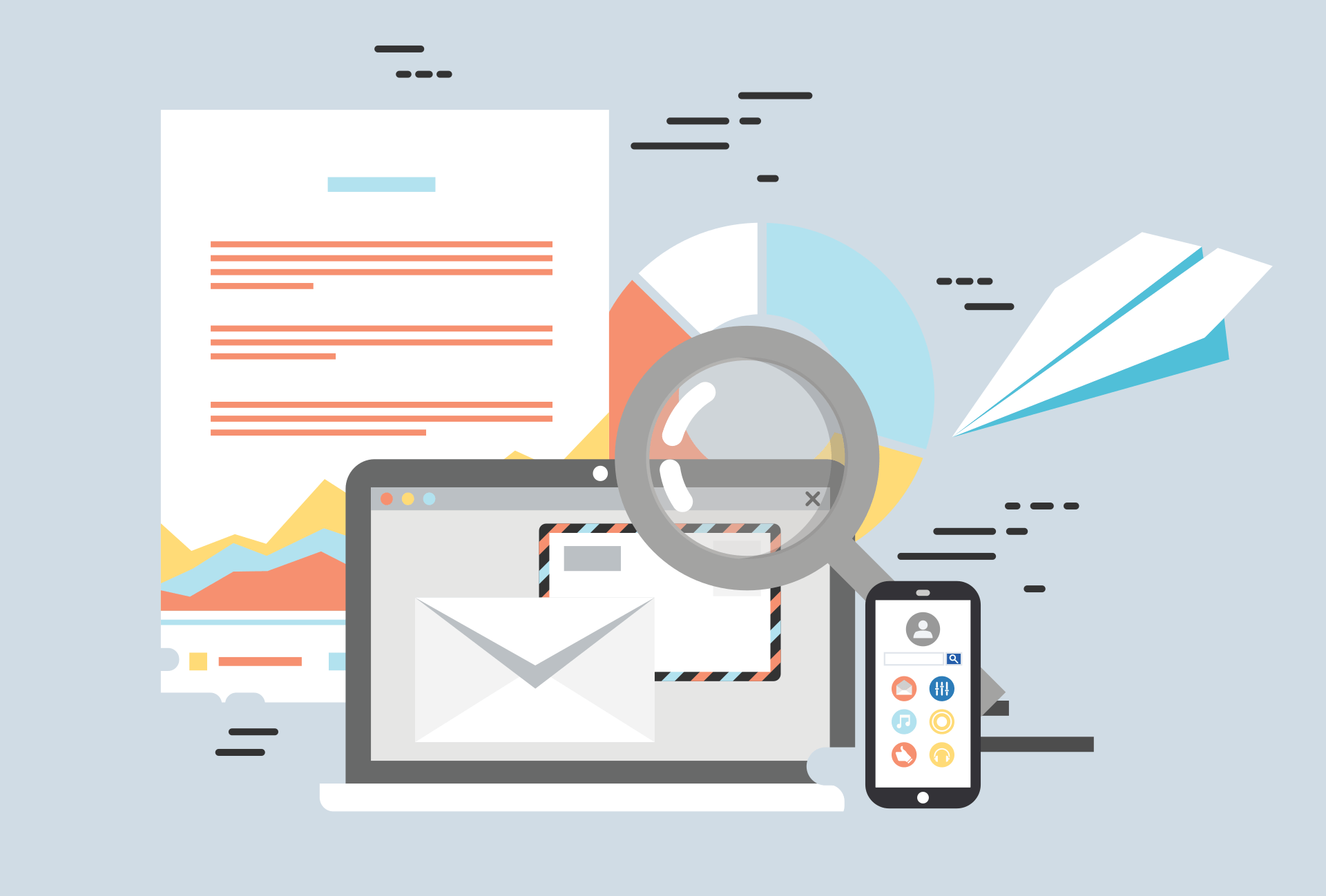 Beschriebenes Blatt Papier, Laptop, Smartphone, Lupe und Papierflieger als Symbol für das umfangreiche Informationsmaterial, das vor einem Termin per E-Mail zugeschickt wird