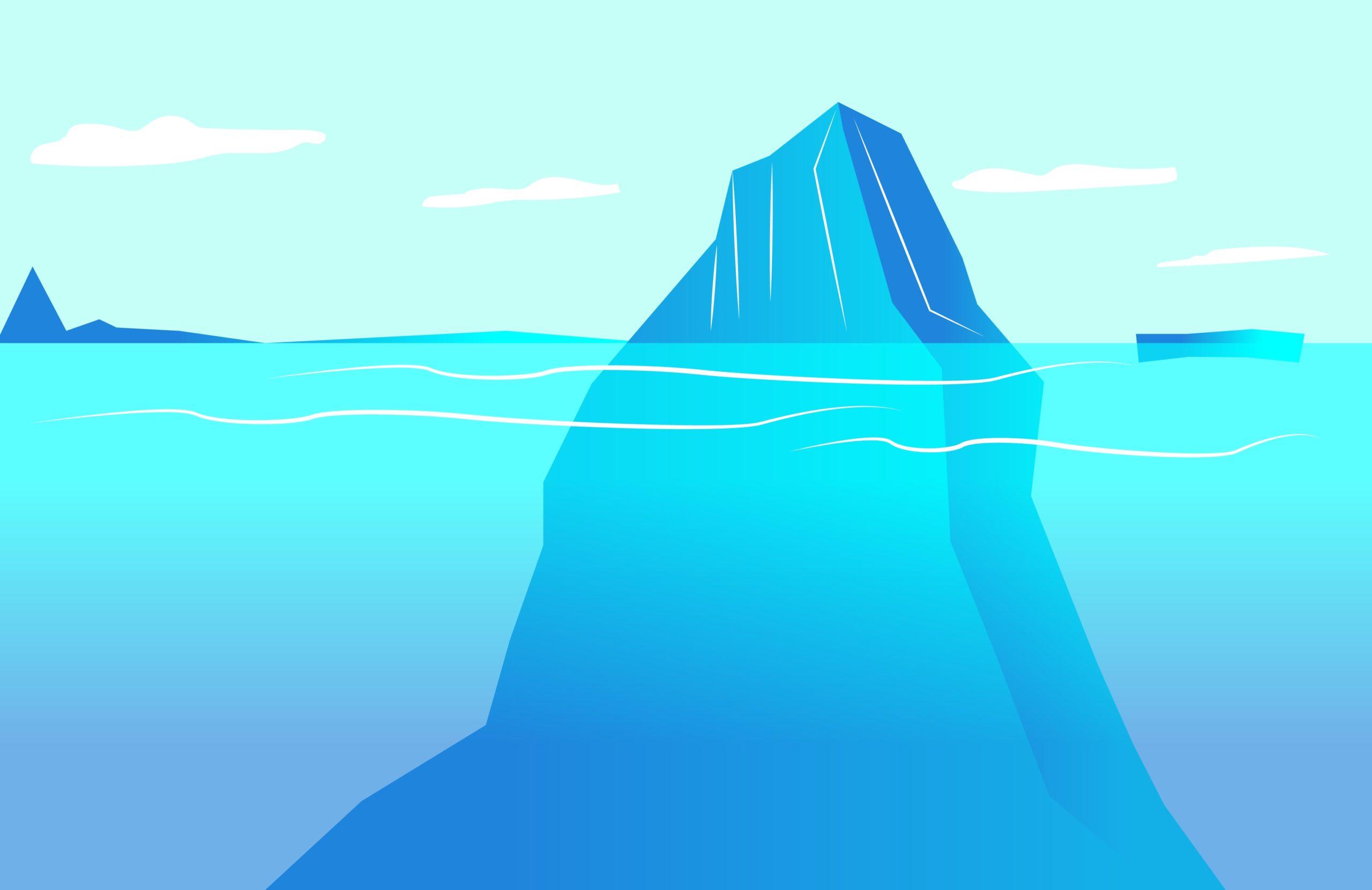Eisberg, dessen Spitze aus dem Wasser ragt, als Symbol für das Alltagsbewusstsein und das Unbewusste