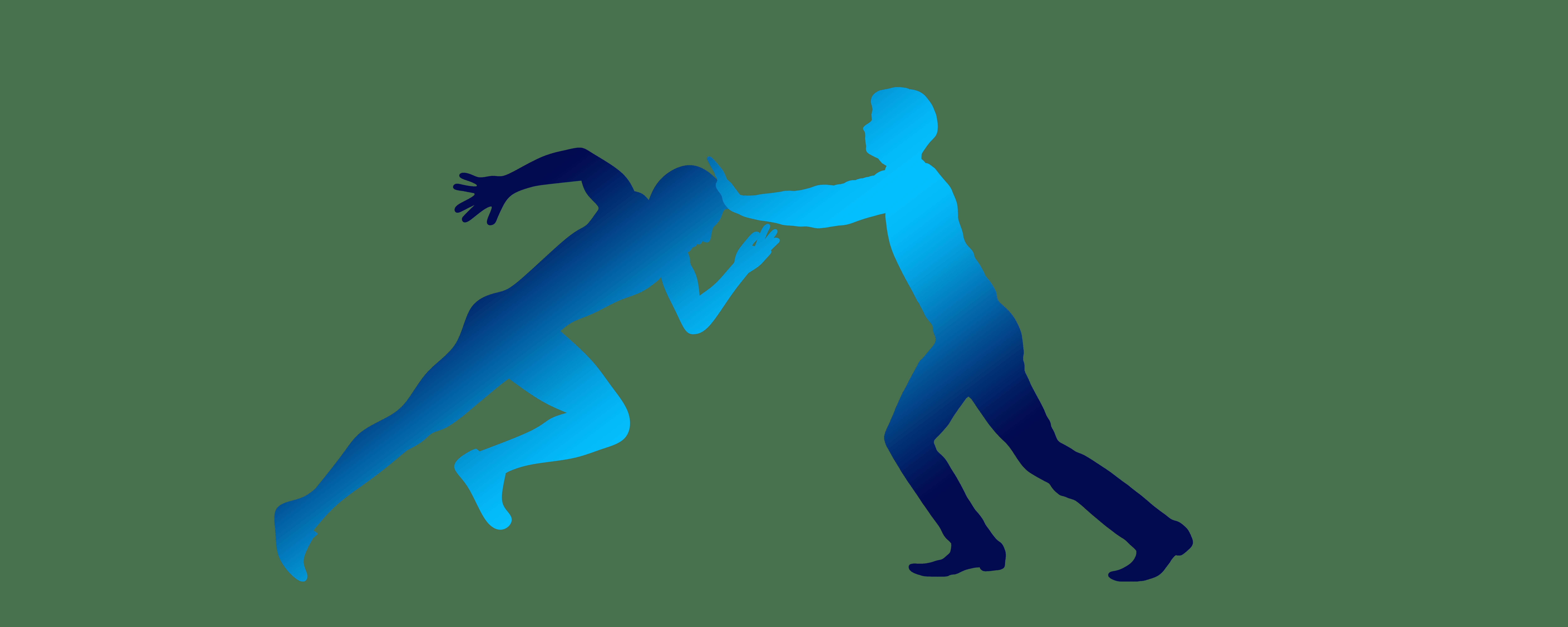 Silhouetten zweier Männer, von denen einer losrennen will, während der andere ihn stoppt als Symbol für den Effekt innerer Abwehr und kontraproduktiven Verhaltens während der Hypnose