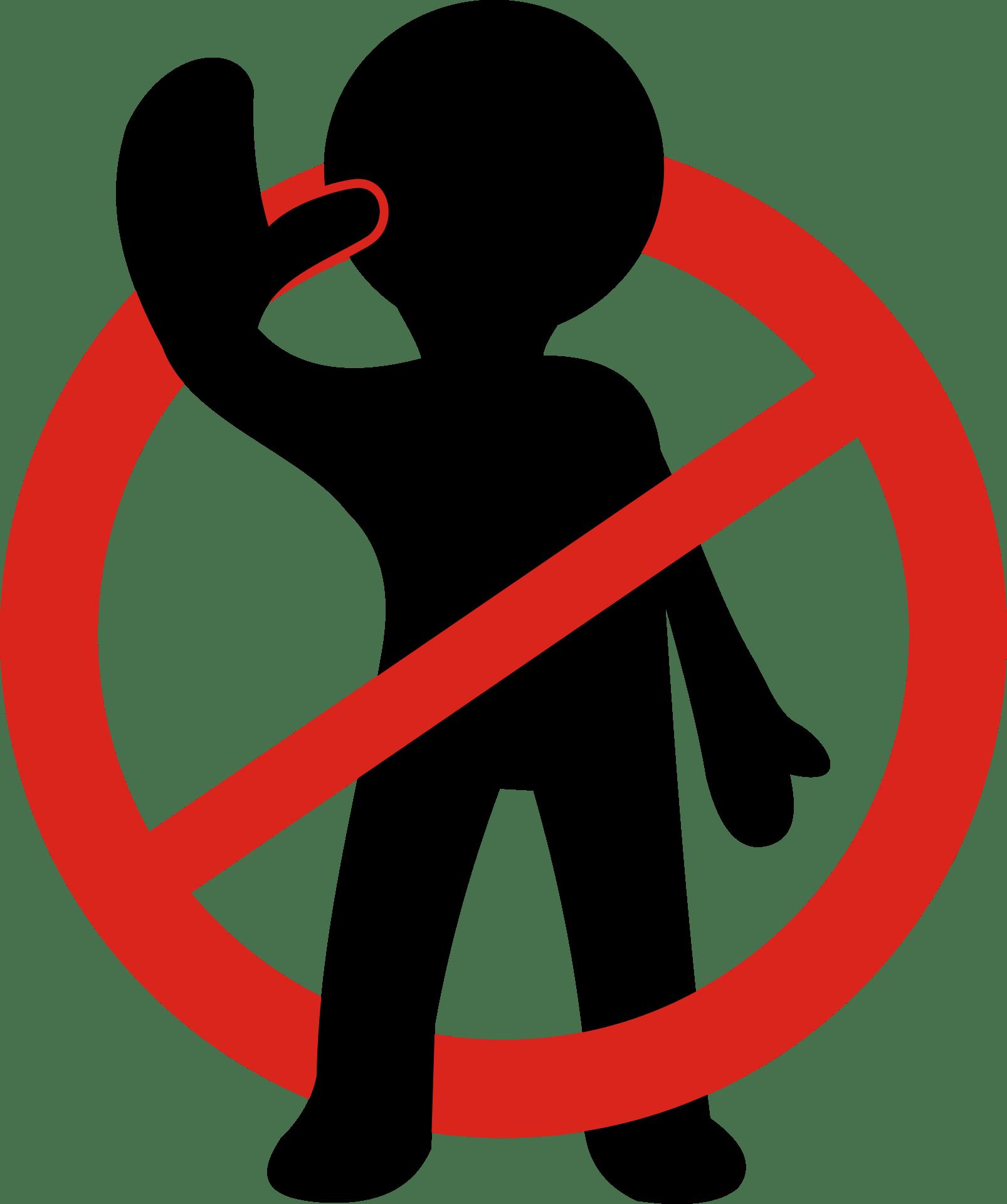 Sperrzeichen mit Dummie, der eine abwehrende Geste macht, als Symbol für abwehrende Gedanken