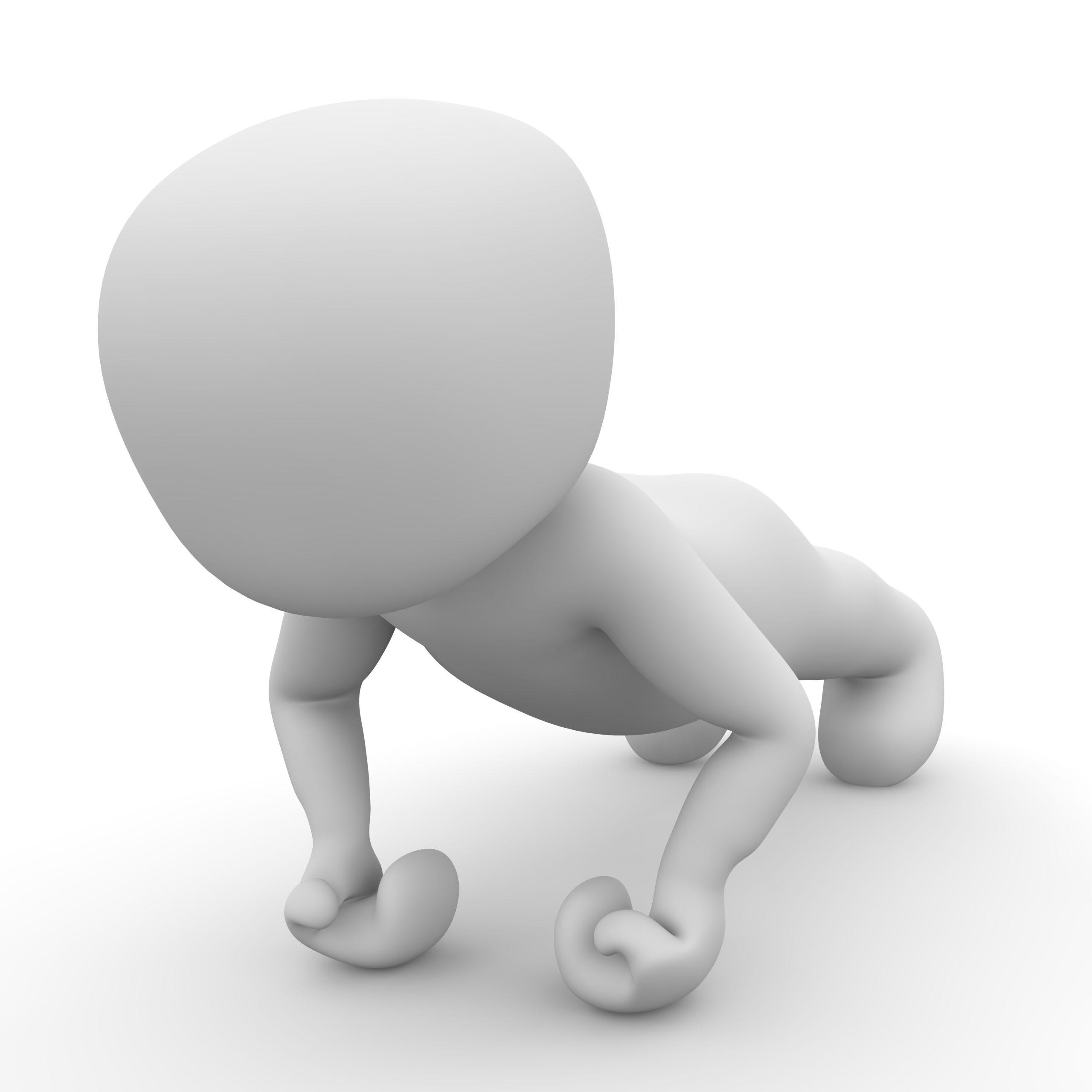 Bild eines Dummies, das Liegestütze macht, als Symbol für das Training