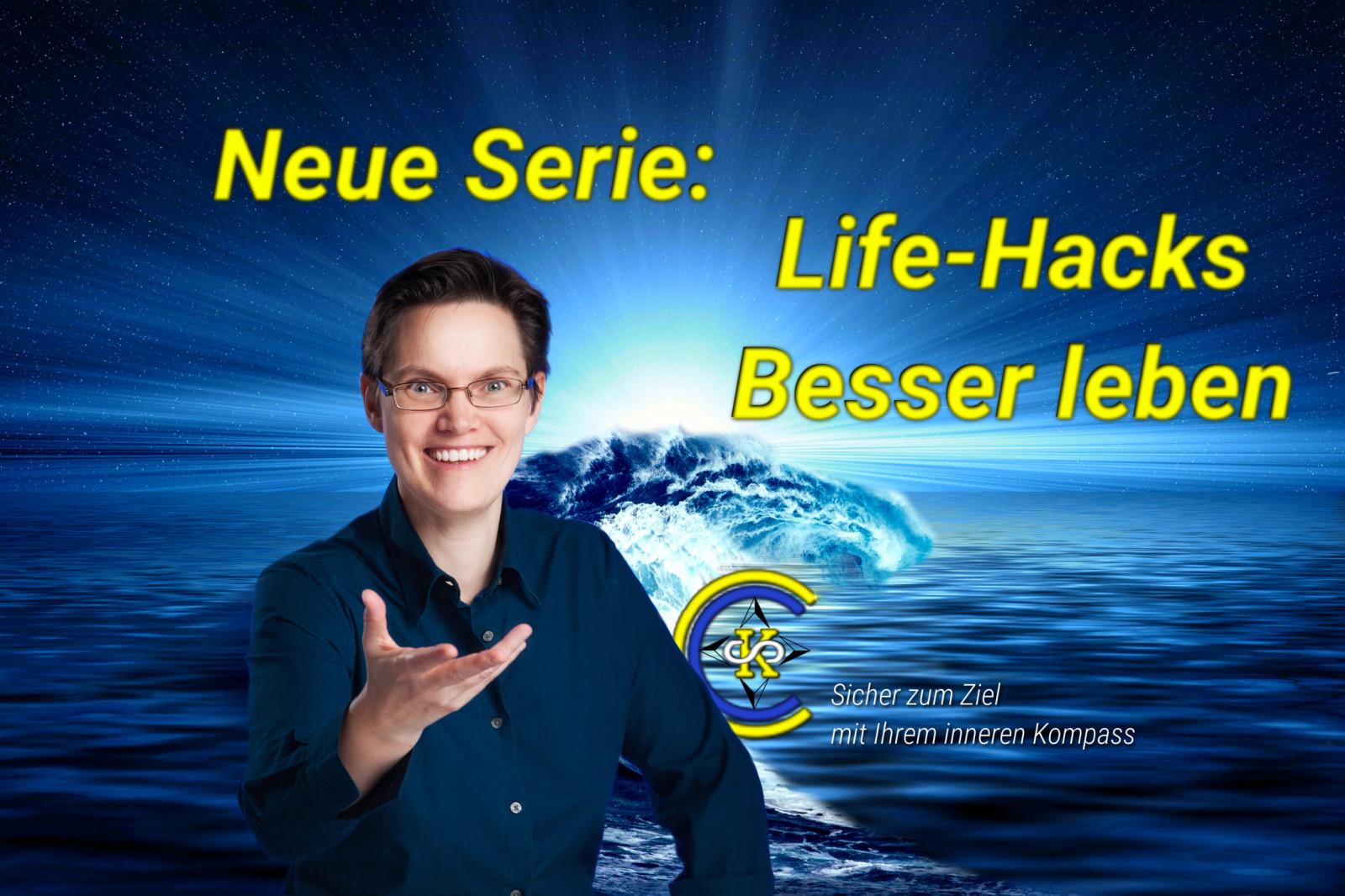 Titelbild zu: Neue Serie: Life Hacks: Besser leben - Man sieht eine aufgehende Sonne über dem Meer, davor eine Welle und Dr. Susanne Kurz